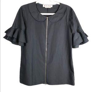 Marni Navy Cotton Linen Ruffle Zip Up Swing Blouse